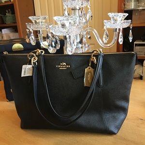 Coach Ava Black Leather Crossgrain Tote Bag new